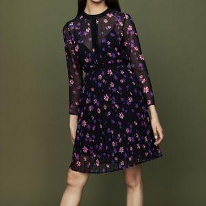 MAJE Rivoline Pleated Chiffon Floral Dress
